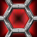 Rosso e fondo del metallo con gli esagoni Fotografia Stock Libera da Diritti