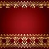 Il rosso e l'oro vector il fondo con il confine d'annata Illustrazione Vettoriale