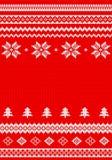 Rosso e fondo tricottato bianco Immagini Stock