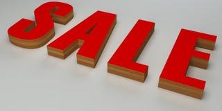 Rosso e legno di vendita 3d Fotografia Stock