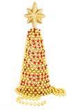 Rosso ed albero di Natale fatto a mano dell'oro. Immagine Stock Libera da Diritti
