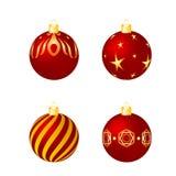 Rosso ed ornamenti di natale dell'oro messi Immagine Stock