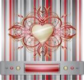 Rosso - fondo grigio con cuore. Fotografia Stock Libera da Diritti