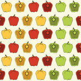 Rosso, giallo, modello senza cuciture di verdure del peperone verde su fondo leggero - vector l'illustrazione Immagini Stock Libere da Diritti