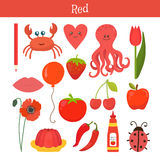 Rosso Impari il colore Insieme di istruzione Illustrazione del passo primario Fotografia Stock Libera da Diritti