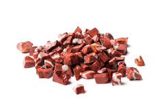 Rosso levante, red natural marble on white background Stock Photos