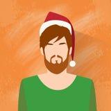 Rosso maschio di festa di Natale del nuovo anno dell'icona di profilo Fotografia Stock