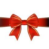 Rosso & regalo dell'arco & del nastro dell'oro Fotografia Stock Libera da Diritti