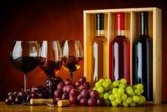Rosso, Rosa e vino bianco in vetro e bottiglia Fotografia Stock Libera da Diritti