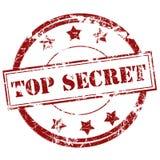 Rosso top-secret del segno del timbro di gomma Fotografie Stock Libere da Diritti