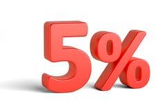 Rosso un segno di cinque per cento su fondo bianco Immagine Stock Libera da Diritti