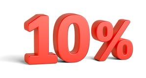 Rosso un segno di dieci per cento su fondo bianco Immagini Stock Libere da Diritti