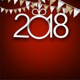 Rosso una carta da 2018 nuovi anni Immagine Stock Libera da Diritti