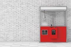 Rosso vuoto Toy Claw Crane Arcade Machine di carnevale rappresentazione 3d Fotografia Stock Libera da Diritti