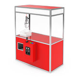 Rosso vuoto Toy Claw Crane Arcade Machine di carnevale rappresentazione 3d Immagine Stock Libera da Diritti