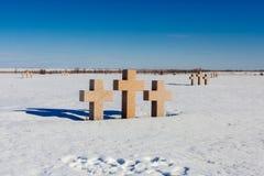 Rossoschki memorial cross. German military memorial graveyard near Volgograd city Royalty Free Stock Photo