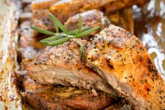 Rost, barbecued ribs seasoned with a spicy, delicious homemade meal. Ribs closeup stock images