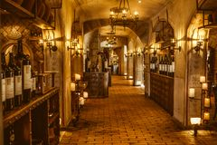 Rost BW/Tyskland - Oktober 22 2016: Inre av den lilla och gamla europeiska vinkällaren med många fulla flaskor arkivfoto