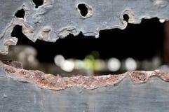 Rosta metall, skada av rost- och korrosionsbakgrund Fotografering för Bildbyråer