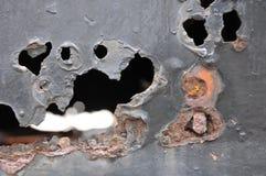 Rosta metall, skada av rost- och korrosionsbakgrund arkivfoto
