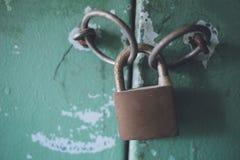 Rostad hänglås på en grön dörr royaltyfri foto