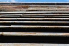 Rostad järnplatta av fasadfabriken Arkivbild