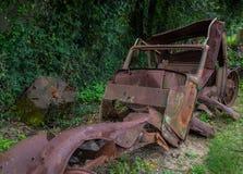 Rostad och övergiven tappningbil i skogen Arkivfoto