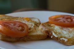 Rostade bröd med tomaten och ägget royaltyfri bild