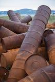 Rostade trummor på kusten Royaltyfri Bild
