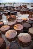 Rostade trummor på kusten Fotografering för Bildbyråer