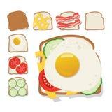 Rostar symbolen Uppsättning av rostat bröd med ost, gurka, bacon, tomat Arkivfoto