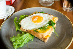 Rostat bröd med ett stekt ägg Royaltyfri Foto