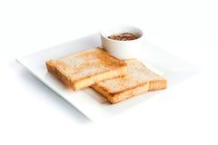 Rostat bröd med sås Royaltyfri Fotografi