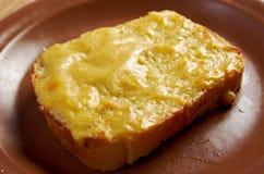 Rostat bröd med smält ost royaltyfri bild