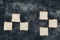 Rostat bröd med smör Fotografering för Bildbyråer