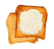 Rostat bröd med smör royaltyfria foton