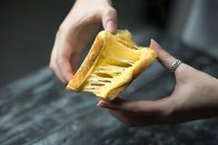 Rostat bröd och ost - bakat rostat bröd med sträckt ost arkivbild
