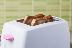 Rostat bröd- och rosa färgbrödrost Royaltyfri Foto