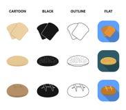 Rostat bröd pizzamaterielet, ruffed släntrar, rund råg Panera fastställda samlingssymboler i tecknad film, svärta, skissera, det  royaltyfri illustrationer