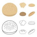 Rostat bröd pizzamaterielet, ruffed släntrar, rund råg Panera fastställda samlingssymboler i tecknade filmen, materiel för symbol vektor illustrationer