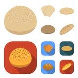Rostat bröd pizzamaterielet, ruffed släntrar, rund råg Panera fastställda samlingssymboler i tecknade filmen, materiel för symbol stock illustrationer