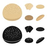 Rostat bröd pizzamaterielet, ruffed släntrar, rund råg Panera fastställda samlingssymboler i tecknade filmen, svart materiel för  vektor illustrationer