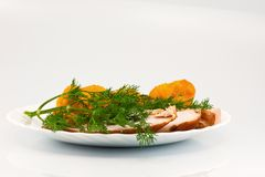 Rosted cauliflower with chiken meat and dill Royalty Free Stock Image