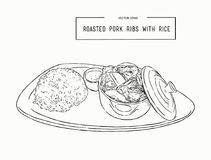 Rosted pork rib rice, hand draw sketch vector. Royalty Free Stock Photography