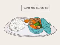 Rosted pork rib rice, hand draw sketch vector. Royalty Free Stock Image