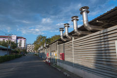 Rostfreier Kamin Stockfoto