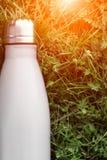 Rostfri termosvattenflaska, vit färg Modell som isoleras på bakgrund för grönt gräs med solljuseffekt Glansig aluminum vacuu royaltyfri fotografi