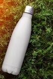 Rostfri termosvattenflaska, vit färg Modell som isoleras på bakgrund för grönt gräs med solljuseffekt Glansig aluminum vacuu royaltyfria foton