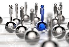rostfritt mänskligt socialt nätverk 3d och ledarskap vektor illustrationer