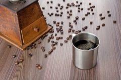 Rostfritt råna av kaffe fotografering för bildbyråer